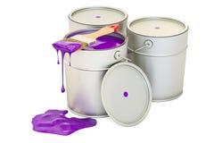 有紫色油漆和刷子的, 3D罐头翻译 免版税库存照片
