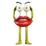 有黄色眼睛的小雕象嘴唇 库存照片