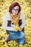 有黄色秋叶的年轻白种人妇女 库存图片