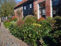 有绿色花床的荷兰房子 图库摄影