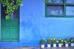 有黄色花的老蓝色房子在入口 图库摄影