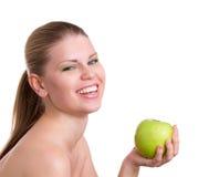 有绿色苹果计算机的妇女 免版税库存照片