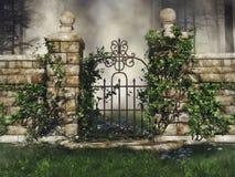 有绿色藤的门 库存例证
