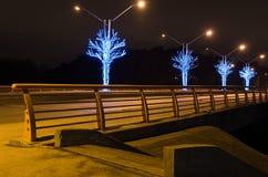 有黄色路轨的桥梁在晚上 免版税库存照片