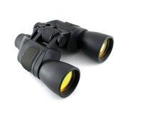 有黄色透镜的黑双筒望远镜 图库摄影