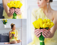 有黄色郁金香拼贴画的美丽的妇女 免版税库存照片