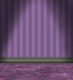 有紫色镶边墙纸的空的室 库存例证