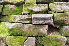 有绿色青苔的石墙 免版税库存图片