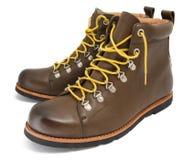 有黄色鞋带的布朗鞋子 免版税库存图片