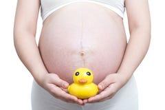 有黄色鸭子玩具的孕妇在她的腹部 图库摄影