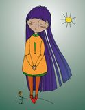 有紫色头发的女孩 免版税图库摄影