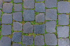 有绿草的古老花岗岩石头地垫作为背景 免版税库存图片