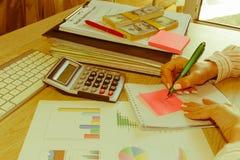 有经营计划、计算器、美元钞票、spreadshee和笔的女性在桌上 免版税库存图片