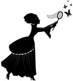 有蝴蝶的夫人 图库摄影