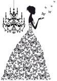 有蝴蝶的妇女,   免版税图库摄影