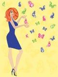 有蝴蝶的妇女 库存照片
