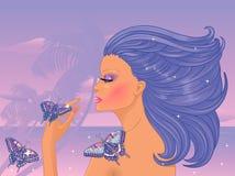 有蝴蝶的少妇 免版税库存图片