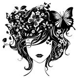 有蝴蝶的抽象女孩在头发 免版税库存图片