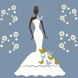 有蝴蝶的新娘 免版税图库摄影