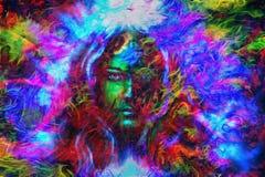 有蝴蝶的,颜色背景拼贴画神秘的面孔妇女 目光接触 向量例证