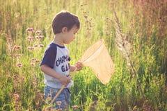 有蝴蝶网蝴蝶抓住的男孩 免版税库存照片