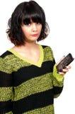 有破裂的电话屏幕的妇女 免版税库存照片