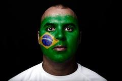 有巴西旗子的人 免版税图库摄影