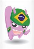 有巴西旗子头饰带的紫色妖怪 库存图片
