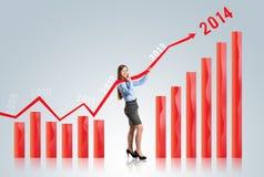 有统计曲线的妇女 免版税图库摄影