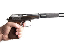 有黑遏声器的银色马卡罗夫手枪 库存照片