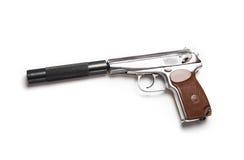 有黑遏声器的银色马卡罗夫手枪 库存图片