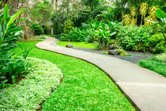 有绕道路的美丽的绿园 库存图片