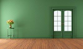 有滚滑门的空的绿色客厅 免版税图库摄影