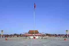 有仪仗队和国旗的,北京,中国天安门 库存图片