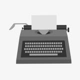 有份额的打字机您的在纸名单上的故事文本隔绝了白色 免版税库存照片