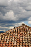 有暴风云的红色铺磁砖的屋顶 免版税库存照片