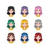 有头饰带的- 9种不同头发颜色长发女孩 库存照片