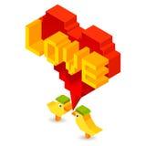 有3D心脏的小鸟恋人 向量例证