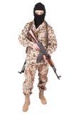 有AK步枪的战士 免版税库存图片