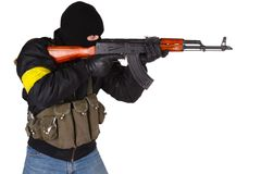 有AK-47的强盗 免版税库存照片