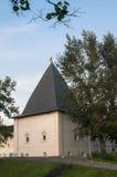 有Andronikov修道院的城楼的石堡垒墙壁 莫斯科俄国 免版税库存照片