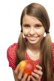 有Apple的十几岁的女孩 库存图片