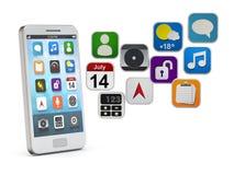 有apps云彩的白色智能手机 免版税库存图片