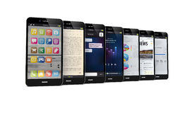 有apps的手机 免版税库存图片
