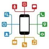 有apps的智能手机 向量例证