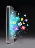 有apps的智能手机 免版税库存照片