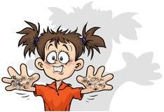 有bacterias的逗人喜爱的女孩在他的手上 免版税库存图片