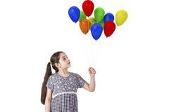 有baloons的女孩 库存图片