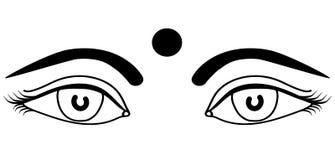 有bindi概述的眼睛印地安女孩隔绝了传染媒介例证 免版税库存照片