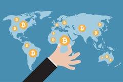 有bitcoin的手在世界地图 也corel凹道例证向量 免版税库存照片